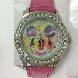 NWT Disney Mickey Mouse Watch Pave Tie Dye Pink